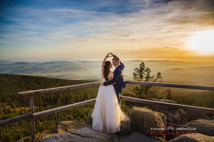 Brautpaar, Hochzeitsfotografie, Dreissessel, Sonnenuntergang, Hochzeitsfotografin Niederbayern