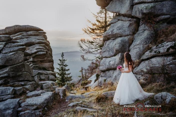 Braut, Hochzeitsfotografie, Dreissessel, Sonnenuntergang, Hochzeitsfotografin Niederbayern