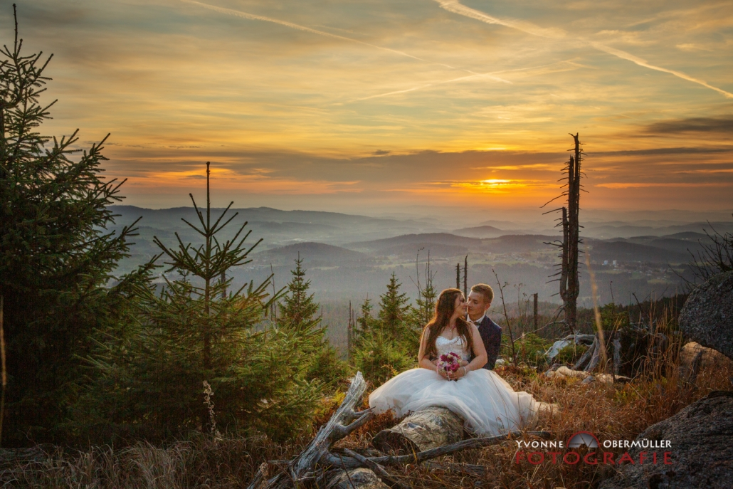 Hochzeitsfotografie, Dreissessel, Sonnenuntergang, Hochzeitsfotografin Niederbayern